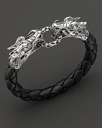 "John Hardy | Metallic ""naga"" Black Woven Leather Dragon Bracelet 