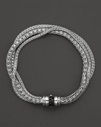 John Hardy | Metallic Bedeg Silver Lava Three Row Bracelet With Black Sapphires | Lyst