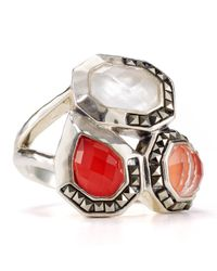 Judith Jack - Metallic Sterling Silver Marcasite Coral Mother Of Pearl Ring - Lyst