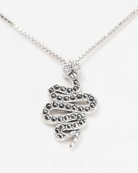 Judith Jack - Metallic Sterling Silver Marcasite and Crystal Snake Pendant Necklace 18 - Lyst