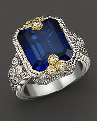 Judith Ripka | Estate Emerald Cut Ring with Labcreated Blue Corundum and White Sapphires | Lyst