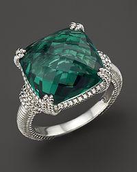 Judith Ripka - Metallic Green Quartz And Sterling Silver Ring - Lyst