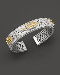 Judith Ripka | Metallic Sterling Silver and 18k Gold Large Estate Cuff  | Lyst