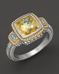 Judith Ripka | Yellow Sterling Silver and 18k Gold Natali Ring with Diamonds and Canary Crystal | Lyst