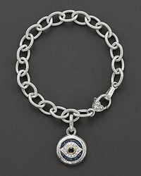 Judith Ripka - Metallic Sterling Silver Evil Eye Charm Bracelet - Lyst