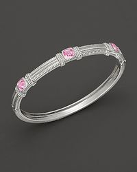 Judith Ripka - Metallic Sterling Silver Labcreated Pink Corundum Bangle - Lyst