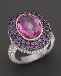 Judith Ripka | Metallic Sterling Silver Large Oval Isabella Ring with Amethyst and Labcreated Pink Corundum | Lyst