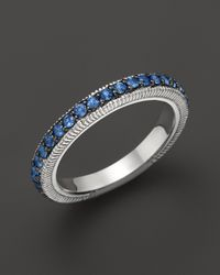 Judith Ripka | Metallic Sterling Silver Pave Band Ring with Blue Sapphire | Lyst