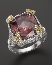 Judith Ripka | Metallic Sterling Silver Small Monaco Ring With Raspberry Crystal | Lyst