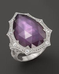 Judith Ripka - Purple Bright Nite Large Pear Stone Ring - Lyst