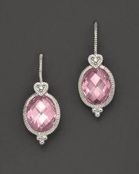 Judith Ripka | Metallic Sterling Silver Oval Stone Earrings | Lyst