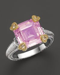 Judith Ripka - Metallic Small Candy Ring With Pink Crystal And White Sapphires - Lyst