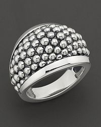 """Lagos - Metallic Sterling Silver """"caviar"""" Domed Ring - Lyst"""