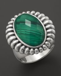 Lagos | Metallic Venus Link Sterling Silver Fluted Ring with Malachite Doublet | Lyst