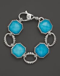Lagos | Blue Sterling Silver Turquoise Color Rocks Large Link Bracelet | Lyst