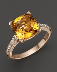 Lisa Nik | Metallic 18k Rose Gold Citrine and Diamond Ring | Lyst