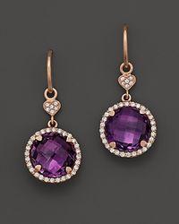 Lisa Nik - Purple Amethyst and Diamond Earrings in 18k Rose Gold - Lyst