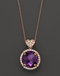 Lisa Nik | Purple Amethyst and Diamond Rocks Pendant Necklace 18k Rose Gold 18 | Lyst