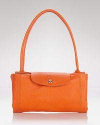 Longchamp - Orange Satchel - Le Pliage Cuir Medium - Lyst