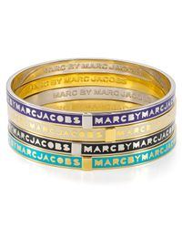 Marc By Marc Jacobs - Blue Skinny Logo Bangle Bracelet - Lyst