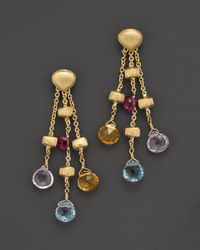 "Marco Bicego | Multicolor ""paradise Collection"" 18 Kt. Yellow Gold Triple Strand Earrings 