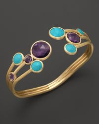 Marco Bicego | Blue Turquoise and Amethyst Cuff in 18k Yellow Gold | Lyst