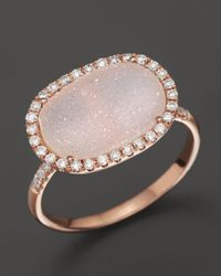 Meira T | Pink 14k Rose Gold Druzy And Diamond Ring | Lyst