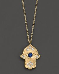 Meira T | Blue . Diamond Hamsa And 14k Yellow Gold Necklace | Lyst