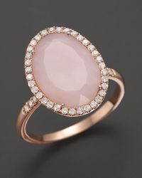 Meira T - Metallic Pink Opal Rose Gold and Diamonds Ring - Lyst