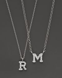 Meira T | Metallic 14k White Gold Initial Necklace With Diamonds, .05 Ct. T.w. | Lyst
