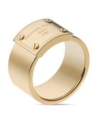 Michael Kors | Metallic Logo Plate Ring | Lyst