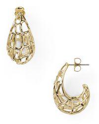 Nadri | Metallic Basketweave Jshaped Hoop Earrings | Lyst