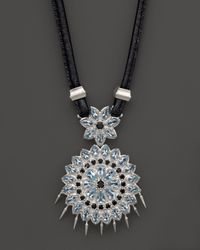 "Paul Morelli - Applique Pendant In Blue Topaz And Black Spinel, 16"" - Lyst"