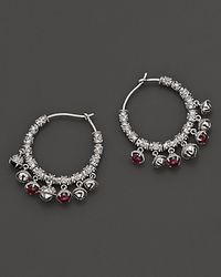 "Paul Morelli | Metallic Small Tiny ""Meditation Bell"" Hoop Earrings With Pink Rhodolite Stones 