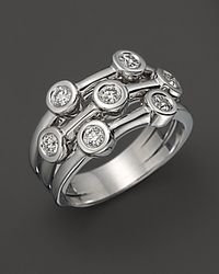 Roberto Coin | 18k White Gold Diamond Bezel Ring | Lyst