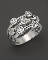 Roberto Coin - 18k White Gold Diamond Bezel Ring - Lyst