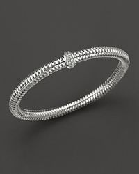 Roberto Coin - Metallic White Gold Stretch Bracelet - Lyst
