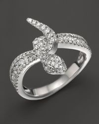 Roberto Coin | 18K White Gold And Diamond Snake Ring | Lyst