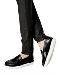 Y-3 | Black Calf Leather Tube Loafers | Lyst