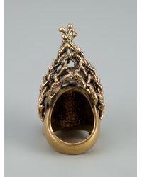 Alexander McQueen - Metallic Mesh Skull Ring - Lyst
