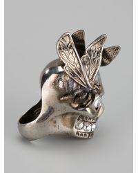 Alexander McQueen - Gray Bee Skull Ring - Lyst