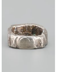 Alice Waese - Metallic Carved Round Ring with Meteorite for Men - Lyst