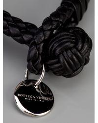 Bottega Veneta - Black Woven Leather Bracelet for Men - Lyst