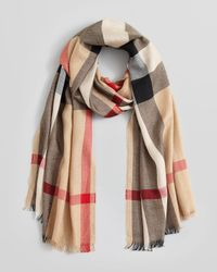 Burberry - Natural Half Mega Check Silkcashmere Scarf - Lyst