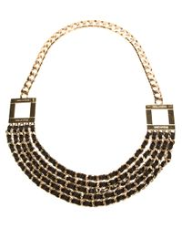 DSquared² - Metallic Leather Woven Necklace - Lyst