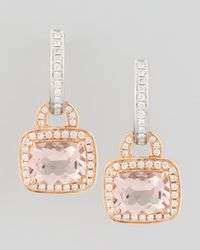 Frederic Sage | Metallic 18k Rose Gold Pave Diamond Morganite Earrings | Lyst