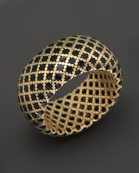 Gucci - 18k Yellow Gold Diamantissima Ring with Black Enamel - Lyst
