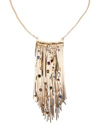 Iosselliani - Metallic Encrusted Fringe Necklace - Lyst