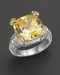 Judith Ripka - Metallic Sterling Silver Canary Stone Heart Prong Ring - Lyst