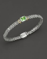 "Lagos - Metallic ""glacier"" Rope Bracelet With Blue Topaz Stone - Lyst"